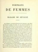 Charles augustin Sainte beuve: Critiques et portraits littéraires – Mme de Sévigné