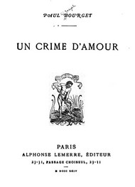 Illustration: Un Crime d'amour - Paul Bourget