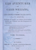 William Godwin: Les Aventures de Caleb Williams (Tome 03)