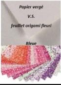 Bleue: Papier vergé V.S. feuillet origami fleuri 1