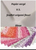 Bleue: Papier vergé V.S. feuillet origami fleuri 2